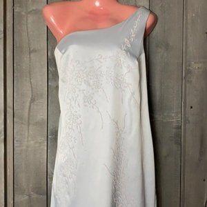 Sally Grey Beaded One Shoulder Gown w/ Scarf XL